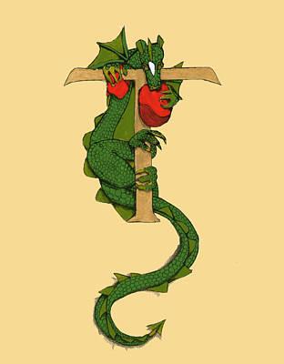 Dragon Letter T Poster