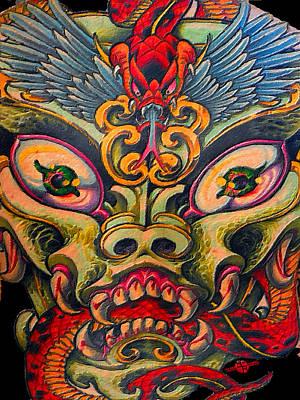 Dragon Tattoo Painting Poster by Tony Rubino