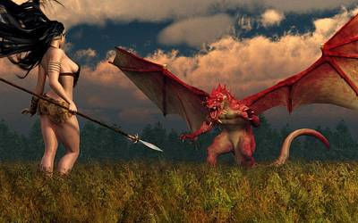 Poster featuring the digital art Dragon Vs Cavegirl by Kaylee Mason
