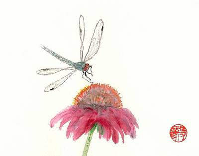 Dragonfly Flower Poster