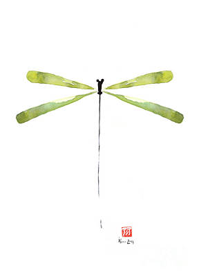 Dragonfly Green Jewel Forest Jewelry Lake Water Watercolor Painting    Poster