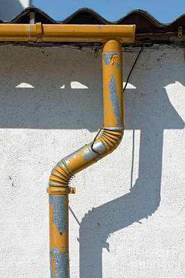 Drainpipe White Structured Wall  Poster