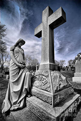 Dramatic Gravestone With Cross And Guardian Angel Poster by Amy Cicconi