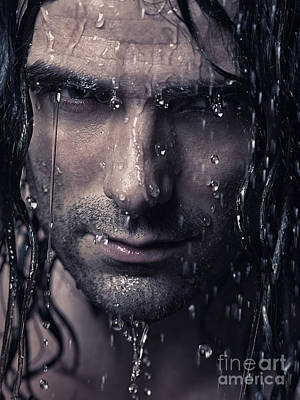 Dramatic Portrait Of Man Wet Face With Long Hair Poster