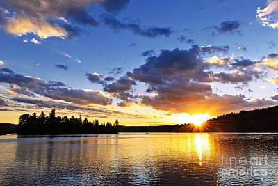 Dramatic Sunset At Lake Poster