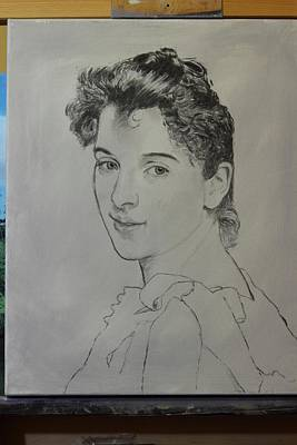 Poster featuring the painting drawing for Gabrielle Cot portrait by Glenn Beasley