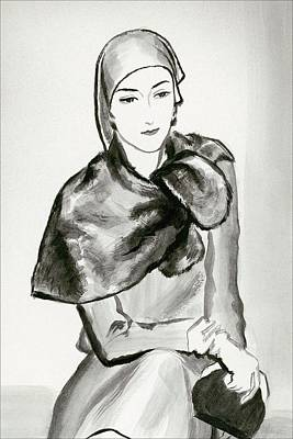 Drawing Of A Woman Wearing A Lucien Lelong Poster