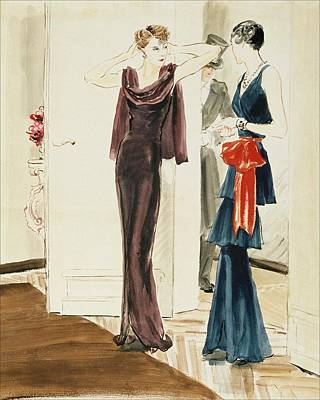 Drawing Of Two Women Wearing Mainbocher Dresses Poster by Ren? Bou?t-Willaumez