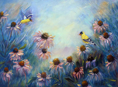 Dream Garden With Goldfinches And Coneflowers Poster by Loretta Luglio