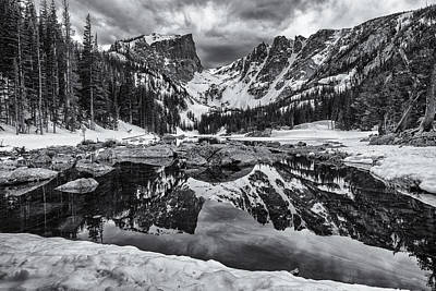Dream Lake Morning Monochrome Poster