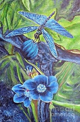 Poster featuring the painting Dream Of A Blue Dragonfly by Kimberlee Baxter