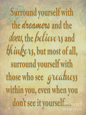Dreamers Doers Believers  Poster by Beverly Guilliams