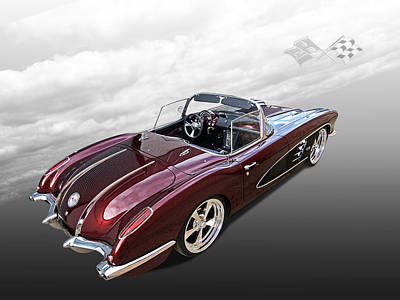 Dreaming Of The '50s - 1958 Corvette Poster by Gill Billington