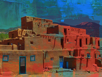 Poster featuring the mixed media Dreams Of Taos by Michelle Dallocchio