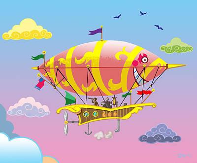 Rainbow Steampunk Dreamship Poster
