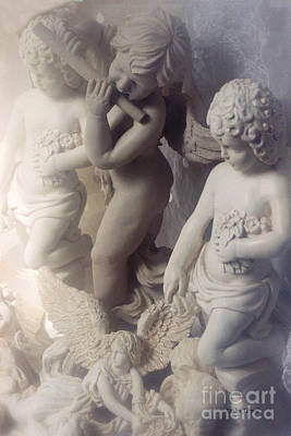 Dreamy Angel Art Cherubs And Angel Statues  Poster by Kathy Fornal