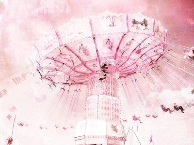 Dreamy Baby Pink Carnival Fair Ferris Wheel - Baby Girl Nursery Room Carnival Prints Poster