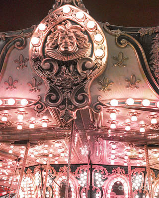 Dreamy Baby Pink Carnival Festival Merry Go Round Sparkling Lights Carnival Photos Poster by Kathy Fornal