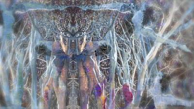 Dreamy Blue Up-dog Yoga Art Poster by Deprise Brescia