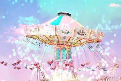 Dreamy Carnival Ferris Wheel Ride - Baby Pink Aqua Teal Ferris Wheel Festival Ride Poster