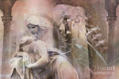Dreamy Ethereal Sad Morning Angel Art - Spiritual Ghostly Angel Art Photos Poster by Kathy Fornal