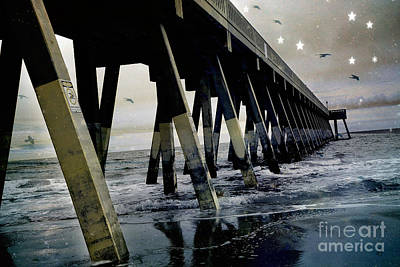 Dreamy Haunting Ocean Coastal Pier With Stars And Birds Poster