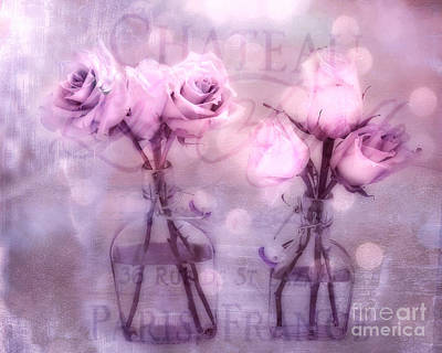 Dreamy Impressionistic Lavender Pink And Purple Roses - French Inspired Pink Lavender Roses In Vase Poster by Kathy Fornal