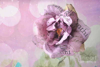 Dreamy Purple Impressionistic Romantic Shabby Chic Cottage Purple And Pink Ethereal Floral Art Poster by Kathy Fornal