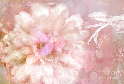 Dreamy Romantic Pink Rose Floral Abstract Poster by Kathy Fornal