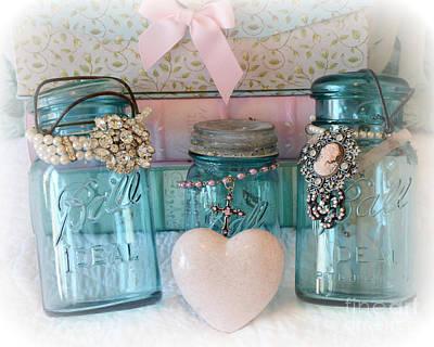 Dreamy Shabby Chic Ball Jars - Vintage Aqua Teal Blue Ball Jars - Ball Jars Pink Valentine Heart Art Poster by Kathy Fornal