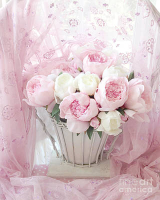 Dreamy Shabby Chic Basket Of Pink White Peonies - Vintage Pink White Peony Basket Floral Wall Decor Poster