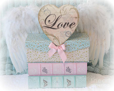 Dreamy Shabby Chic Cottage Pastel Pink Aqua Romantic Valentine Love Heart - Valentine Love Heart Art Poster by Kathy Fornal