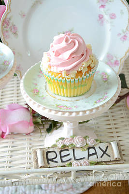 Dreamy Shabby Chic Cupcake Romantic Food Vintage Cottage Food Photography - Just Relax Poster