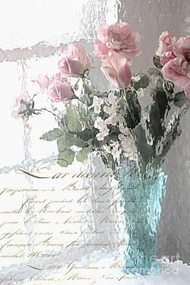 Dreamy Shabby Chic Pastel Flowers - Romantic Impressionistic Paris Roses And Tulips Poster by Kathy Fornal