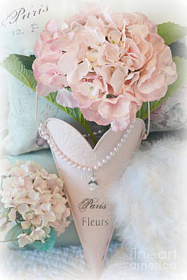 Paris Pink Hydrangeas Heart - Romantic Cottage Chic Paris Pink Hydrangea Floral Art Poster by Kathy Fornal