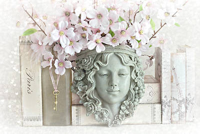 Dreamy Shabby Chic Pink Blossoms Paris Books Floral Art  - Romantic Paris Shabby Chic Pink Floral Poster