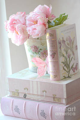 Dreamy Shabby Chic Pink Peonies And Books - Romantic Cottage Peonies Floral Art With Pink Books Poster