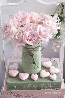 Dreamy Shabby Chic Pink Roses - Romantic Valentine Pink Roses And Hearts Floral Art Poster