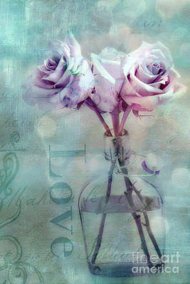 Dreamy Shabby Chic Pink Roses Teal Aqua Impressionistic Cottage Pink And Teal Love Print Poster by Kathy Fornal
