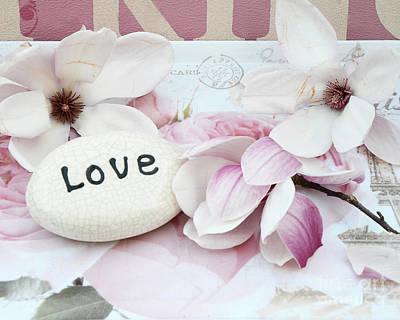Dreamy Shabby Chic Pink White Magnolia Blossoms - Romantic Pink Magnolias With Love Poster