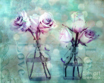 Dreamy Shabby Chic Roses Impressionistic Pink Teal Aqua - Romantic Roses Love Floral Impressionistic Poster by Kathy Fornal