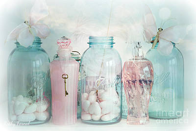 Dreamy Shabby Chic Vintage Ball Jars With Pink Bottles - Romantic Aqua Teal Blue Ball Jars Photos Poster