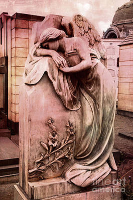 Dreamy Surreal Beautiful Angel Art Photograph - Angel Mourning Weeping At Gravestone  Poster