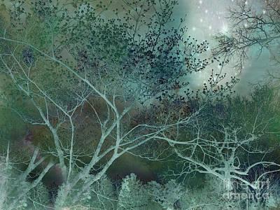 Dreamy Surreal Fantasy Teal Aqua Trees Nature  Poster