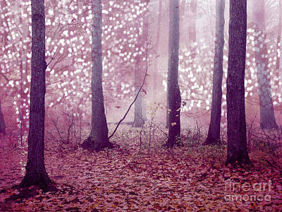 Dreamy Surreal Sparkling Twinkling Lights Pink Mauve Woodlands Tree Nature Poster