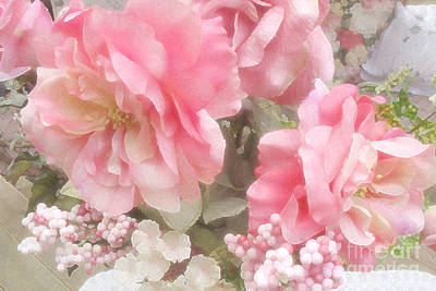Dreamy Vintage Cottage Shabby Chic Pink Roses - Romantic Roses Poster by Kathy Fornal