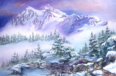 Poster featuring the painting Dressed In White Mount Shuksan by Sherry Shipley
