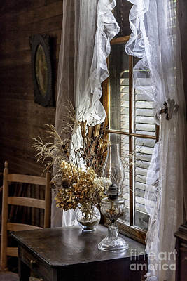 Dried Flowers And Oil Lamp Still Life Poster
