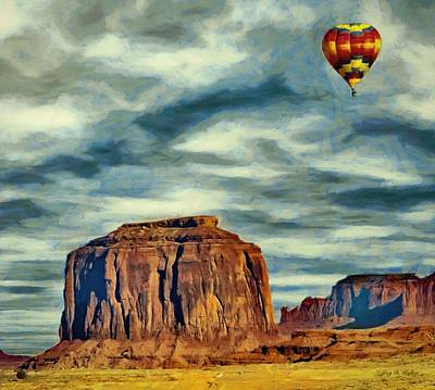 Poster featuring the painting Drifting Over Monument Valley by Jeff Kolker