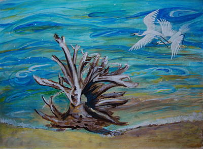 Driftwood On Lake Huron Poster by Veronica Rickard
